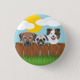 Illustration lucky dogs on a wooden fence 1 inch round button
