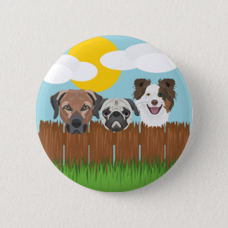 Illustration lucky dogs on a wooden fence 2 inch round button