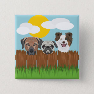 Illustration lucky dogs on a wooden fence 2 inch square button
