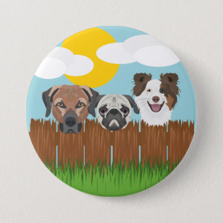 Illustration lucky dogs on a wooden fence 3 inch round button