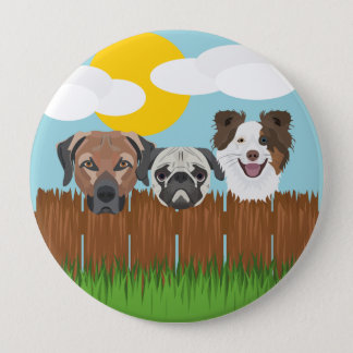 Illustration lucky dogs on a wooden fence 4 inch round button