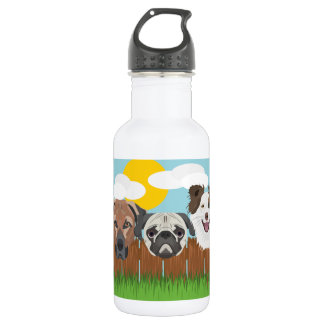 Illustration lucky dogs on a wooden fence 532 ml water bottle