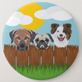 Illustration lucky dogs on a wooden fence 6 inch round button