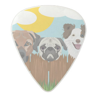 Illustration lucky dogs on a wooden fence acetal guitar pick