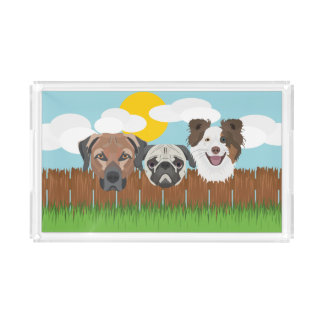 Illustration lucky dogs on a wooden fence acrylic tray