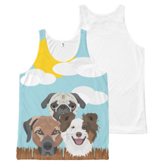Illustration lucky dogs on a wooden fence All-Over-Print tank top