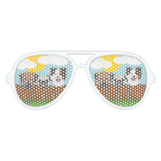 Illustration lucky dogs on a wooden fence aviator sunglasses