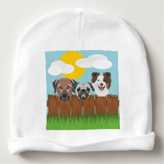 Illustration lucky dogs on a wooden fence baby beanie