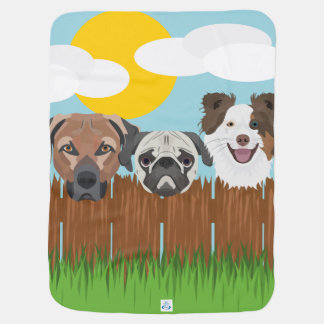 Illustration lucky dogs on a wooden fence baby blanket