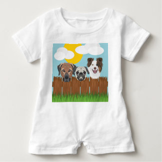 Illustration lucky dogs on a wooden fence baby romper