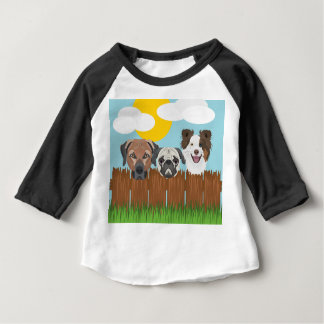 Illustration lucky dogs on a wooden fence baby T-Shirt