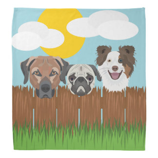 Illustration lucky dogs on a wooden fence bandana