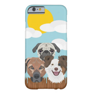 Illustration lucky dogs on a wooden fence barely there iPhone 6 case