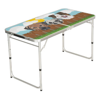 Illustration lucky dogs on a wooden fence beer pong table