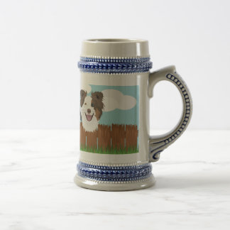 Illustration lucky dogs on a wooden fence beer stein