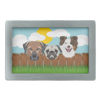 Illustration lucky dogs on a wooden fence belt buckle