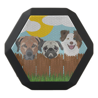 Illustration lucky dogs on a wooden fence black bluetooth speaker