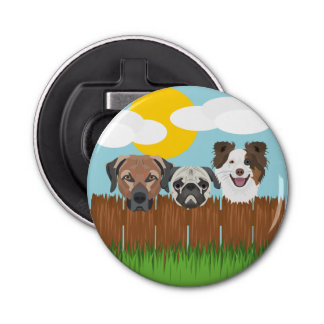 Illustration lucky dogs on a wooden fence bottle opener