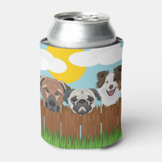 Illustration lucky dogs on a wooden fence can cooler
