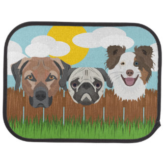 Illustration lucky dogs on a wooden fence car mat