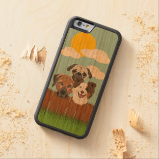 Illustration lucky dogs on a wooden fence carved cherry iPhone 6 bumper case