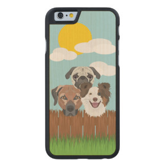 Illustration lucky dogs on a wooden fence carved maple iPhone 6 case