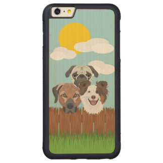 Illustration lucky dogs on a wooden fence carved maple iPhone 6 plus bumper case
