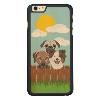 Illustration lucky dogs on a wooden fence carved maple iPhone 6 plus case