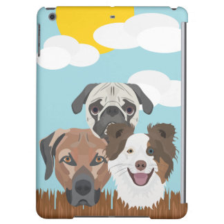 Illustration lucky dogs on a wooden fence case for iPad air