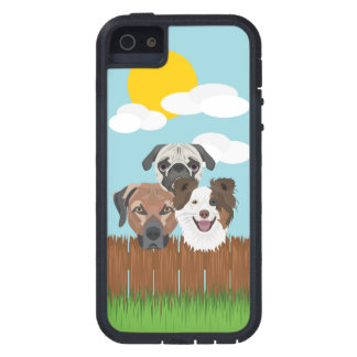 Illustration lucky dogs on a wooden fence case for the iPhone 5