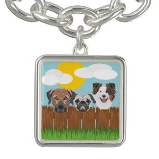 Illustration lucky dogs on a wooden fence charm bracelet