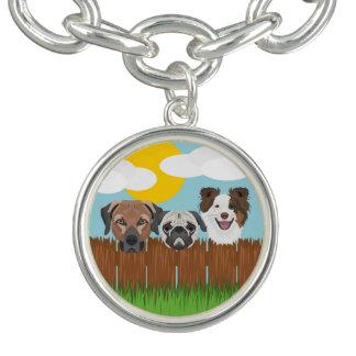 Illustration lucky dogs on a wooden fence charm bracelets