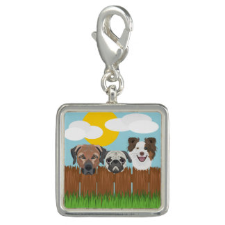 Illustration lucky dogs on a wooden fence charms