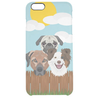 Illustration lucky dogs on a wooden fence clear iPhone 6 plus case