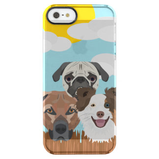 Illustration lucky dogs on a wooden fence clear iPhone SE/5/5s case