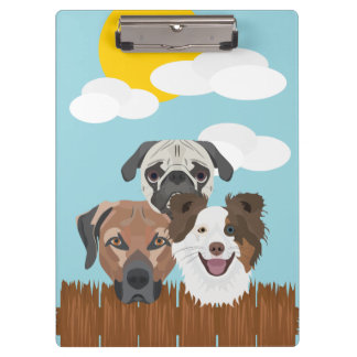 Illustration lucky dogs on a wooden fence clipboard