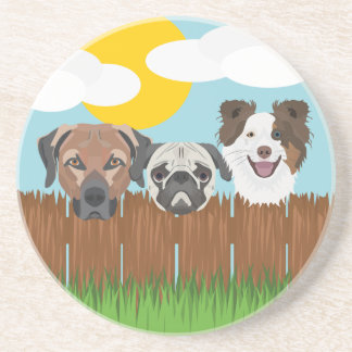 Illustration lucky dogs on a wooden fence coaster