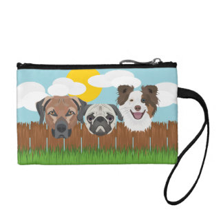 Illustration lucky dogs on a wooden fence coin purse