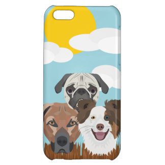 Illustration lucky dogs on a wooden fence cover for iPhone 5C