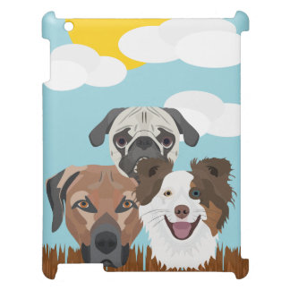 Illustration lucky dogs on a wooden fence cover for the iPad 2 3 4