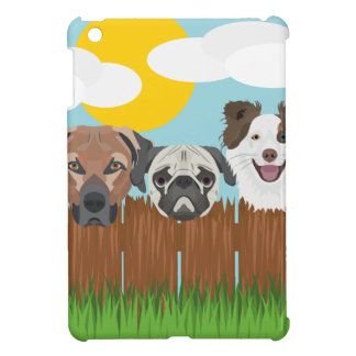 Illustration lucky dogs on a wooden fence cover for the iPad mini