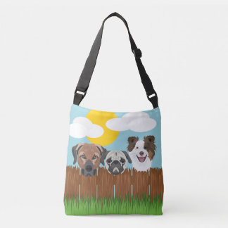 Illustration lucky dogs on a wooden fence crossbody bag