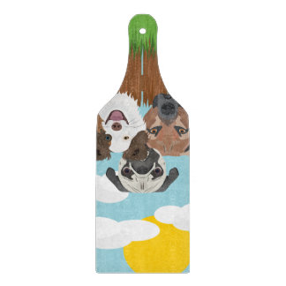 Illustration lucky dogs on a wooden fence cutting board