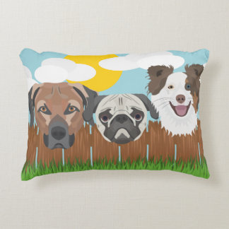Illustration lucky dogs on a wooden fence decorative pillow