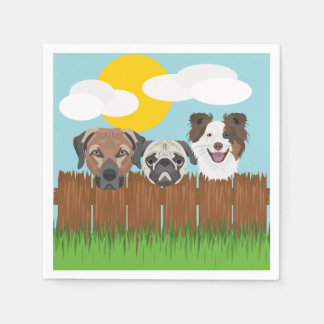 Illustration lucky dogs on a wooden fence disposable napkins