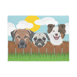 Illustration lucky dogs on a wooden fence doormat