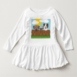 Illustration lucky dogs on a wooden fence dress