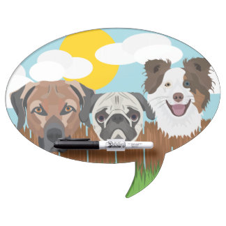 Illustration lucky dogs on a wooden fence dry erase board