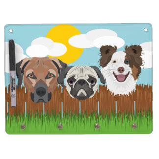Illustration lucky dogs on a wooden fence dry erase board with keychain holder