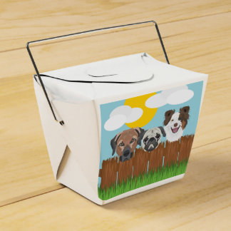 Illustration lucky dogs on a wooden fence favor box